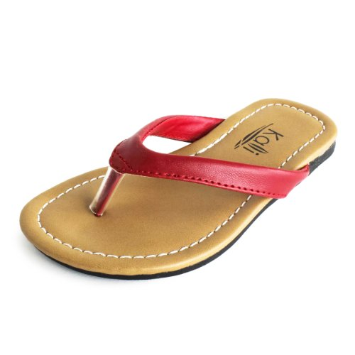 Girls Basic Summer Flip-Flops Red 1 M US Little Kid by Max Footwear