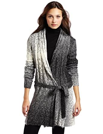 D.E.P.T. Women's Mad Spacedye Knit Cardigan Sweater, Black, Large