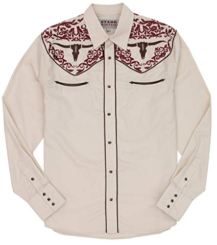 - STARR Heritage Vintage Embroidered Western Snap Shirt SHC004-8 | Retro Cow Skull