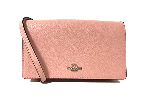 Coach Foldover Clutch Wallet Pebbled Leather Crossbody Bag F30256 (Petal)