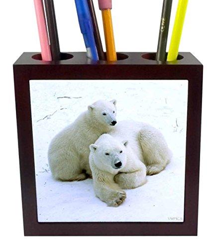 3dRose Polar Bear Mother and cub.(Ursus Maritimes).Churchill, Canada Tile Pen Holder, 5