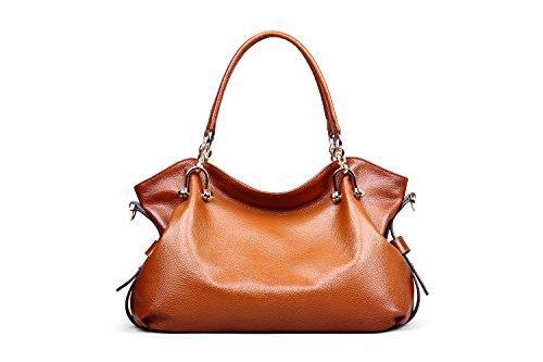 Bag Brown Top Women Genuine Red Handle Hermiona Daily Shoulder Leather Handbags Casual 17wzxqSPZ