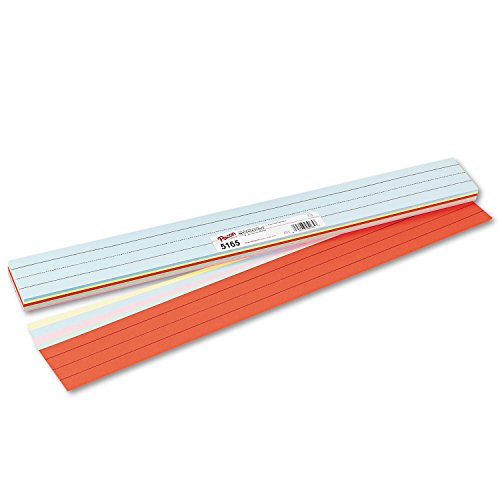 "Pacon Sentence Strips, 5 Assorted Colors, 1-1/2"" Ruled, 3"" x 24"", 100 Strips"