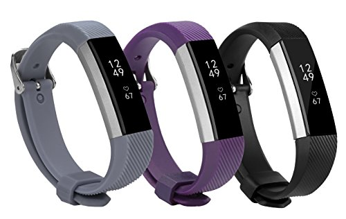[Newest Fitbit Alta HR and Alta Band with Metal Clasp and Steel Buckle, BeneStellar 3-Pack Silicone Replacement Bands Bracelet Strap for Fitbit Alta HR and Alta (3-Pack Set1 (Black&Purple&Dark Gray))] (Full Metal Buckle)