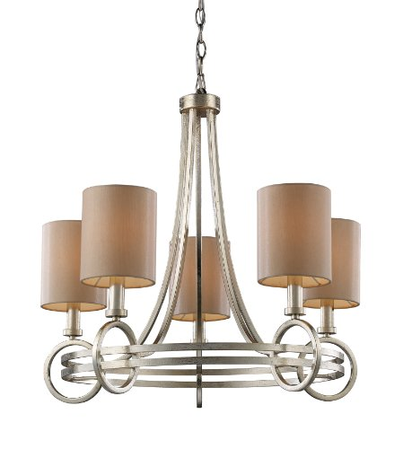 Elk Deco Chandelier Art (Elk 31006/5 New York 5-Light Chandelier In Renaissance Silver)