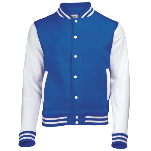 (AWDis Unisex Varsity Jacket Large Royal Blue / White)
