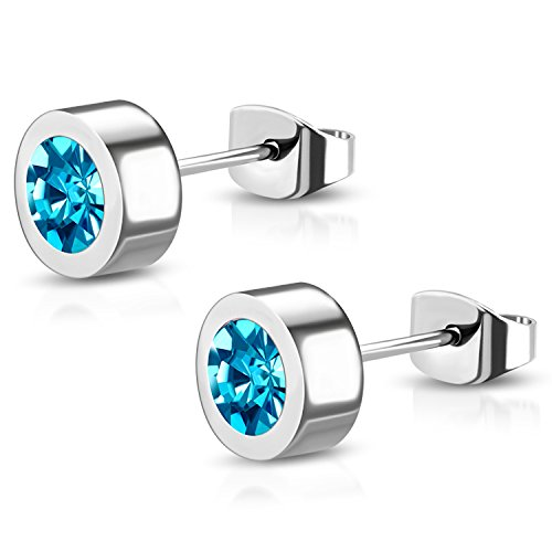 6 MM Stainless Steel Bezel-Set Aquamarine CZ Illusion Circle Round Button Stud Post (Round Tension Set Earrings)