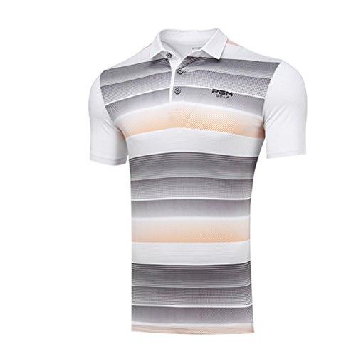 Kayiyasu ポロシャツ メンズ ゴルフウェア UVカット ゴルフシャツ オシャレ スポーツシャツ 男性用 半袖 Tシャツ 運動着 日焼け止め 021-xsty-yf112(XXL オレンジ)