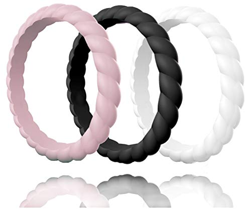 Made for Her Silicone Wedding Ring for Women, Stackable & Thin Rubber Band in Fine Color Combination for Pregnant, Sports & Active Women's - Life Time Warranty Set of 1-3-7-10 (Color Tri Fit Ring Comfort)