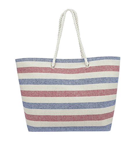 Eshma-Mardini-Striped-Canvas-Beach-Bag-Inside-Lining-Inner-Pocket-Top-Handle-Eco-Friendly