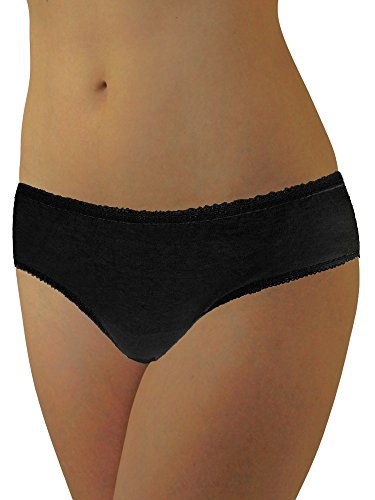 Womens Disposable 100% Cotton Underwear - for Travel- Hospital Stays- Emergencies Black lge-20pk