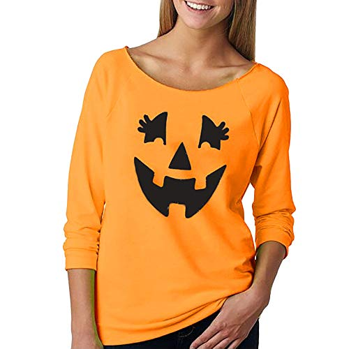 Realdo Womens Halloween Tops Clearance Sale,Women Solid Pumpkin Face Print Long Sleeve T-Shirt (Medium,Orange) -