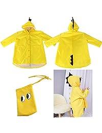 Bilboy Kids Raincoat for Boys Girls,Reusable Rain Poncho Yellow Dinosaur Shaped Rain Jacket Rainwear