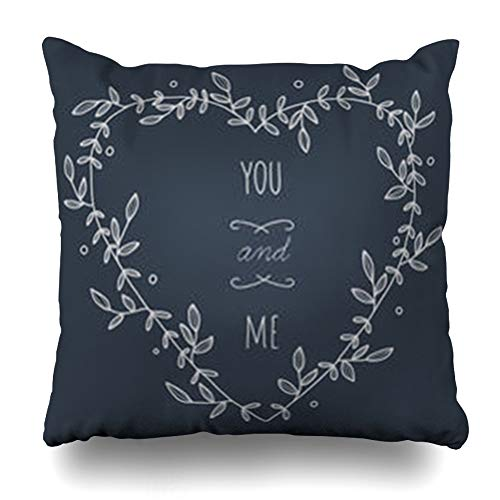 HomeOutlet Throw Pillow Cover Engagement Embellishment Heartshaped Wreath On Heart Hand Shaped Blackboard No Gradients Floral Pillowcase Square Size 20 x 20 Inches Home Decor Sofa Cushion Case