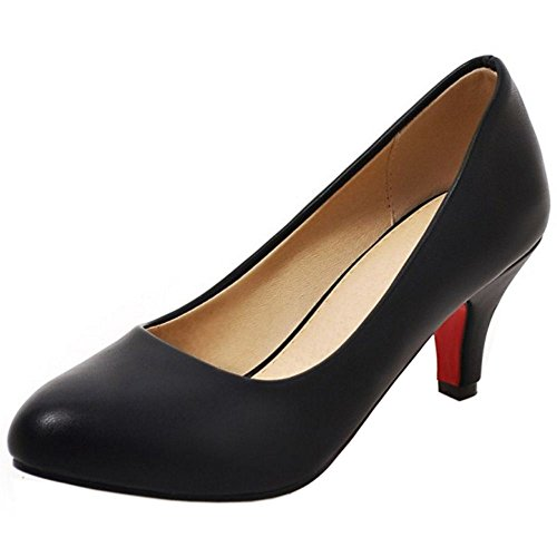 KemeKiss Classic Shoes Slip Heel Mid Black Pumps Autumn Spring Women On qwSqgr