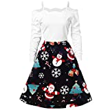 Women Fashion Christmas Print Dress Round Neck Long Sleeve Zipper Bow Hepburn Party Swing Dress White