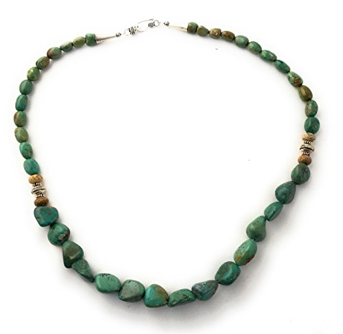Masha Storewide Sale ! Sterling Silver Necklace By Green Nugget Turquoise, Made in USA - Exclusive Southwestern Handmade Jewelry, Strand 20