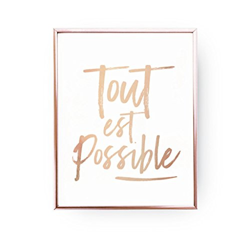 Tout Est Possible Print, Rose Gold Print, Inspirational Poster, French Quote, Typography Print, Home