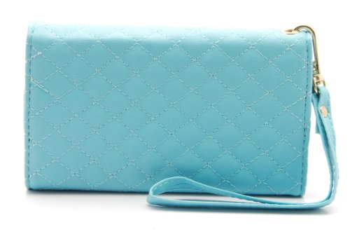 ZZYBIA® IP5 PQC Light Blue Leatherette Wristlet Pouch Case Card Holder Wallet for Apple Iphone 5 5s