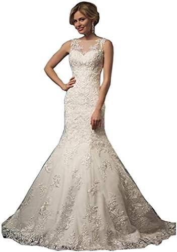 Tianzhihe robe de mariée en dentelle sirène pour la mariée robe de mariée à col haut avec train