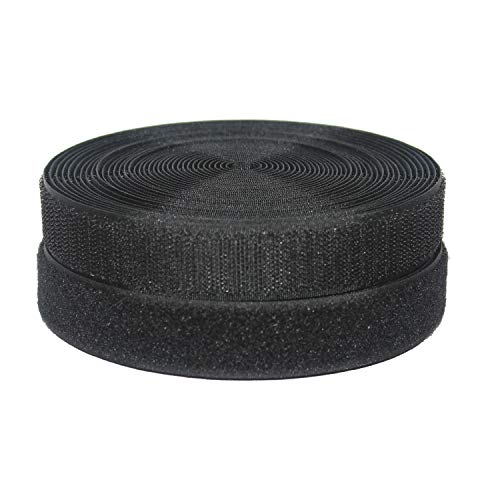 HUAYY 1 inches Width 9 Yards Length,Sew on Hook and Loop Style,Non-Adhesive Nylon Strips Fabric,Black (1in x 9yd) by Huayueyun