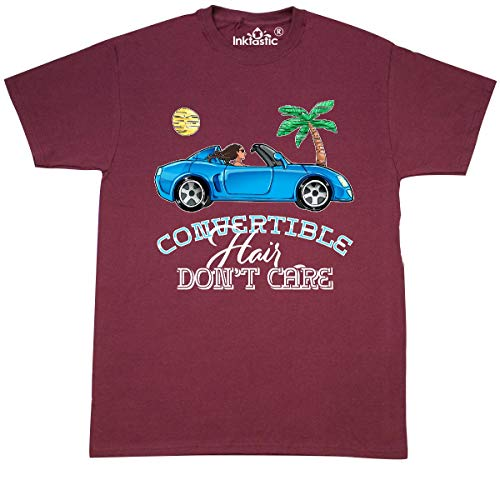 inktastic Convertible Hair Don't Care with Brown Hair and T-Shirt Small Maroon