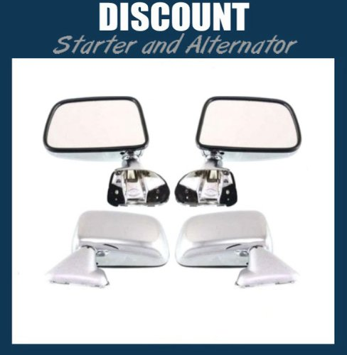 New Pair of Side Mirrors LH & RH, 1987-1989 Toyota 4Runner and Pickup, Manual, Non-Heated, Non-Folding, Below Eyeline, Chrome ()