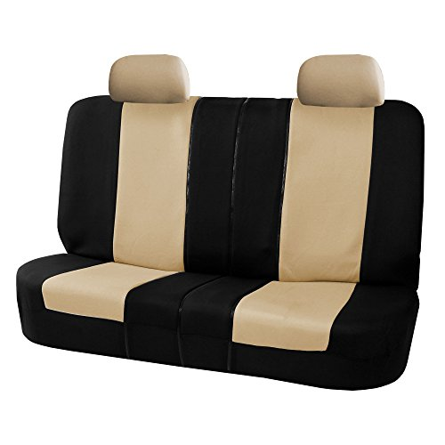 (FH GROUP FB051012 Multi Functional Flat Cloth Split Bench Car Seat Cover, Beige/Black- Fit Most Car, Truck, SUV, or Van)