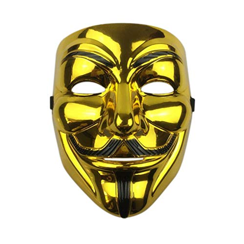 Anonymous Guy V for Vendetta Guy Fawkes Costume Cosplay Mask with Vinyl Sticker Mask for Parties (Gold)]()
