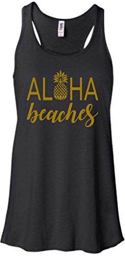 Beach Bum Tees Aloha Beaches Funny Ladies Flowy Pineapple Racerback Tank Top