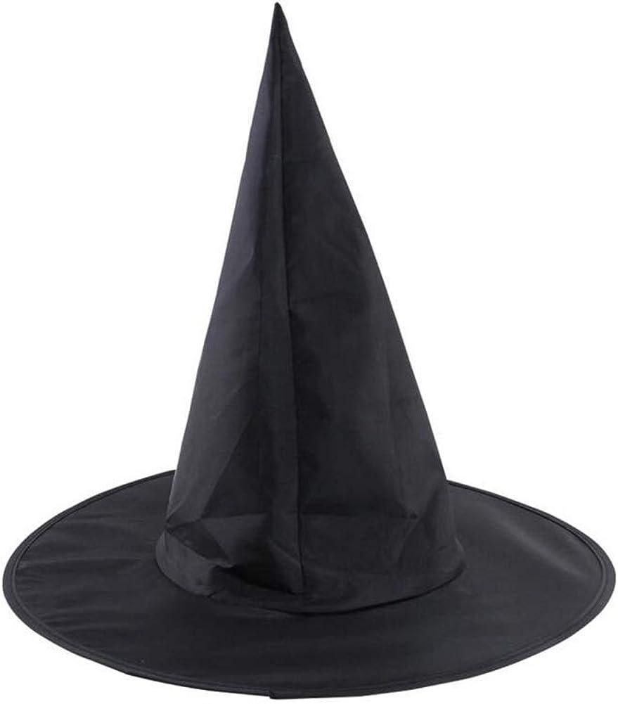 1 PC Para Mujer Negro Sombrero De La Bruja De Halloween Bruja Enarbol/ó El Sombrero De La Bruja De Accesorios De Vestuario Para Halloween Y Gorra De Tela Oxford Fiesta De Navidad Peaked Puntales