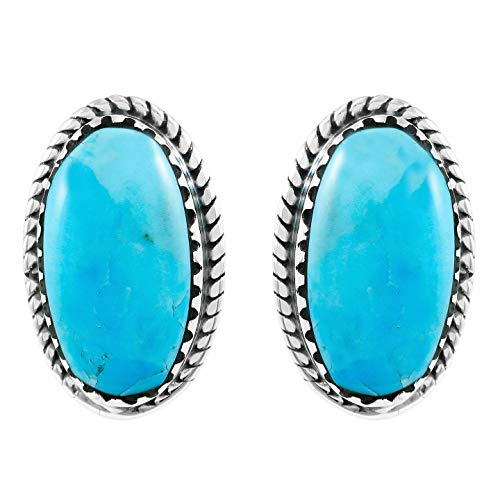 Turquoise Earrings 925 Sterling Silver & Genuine Turquoise (Framed Ovals)