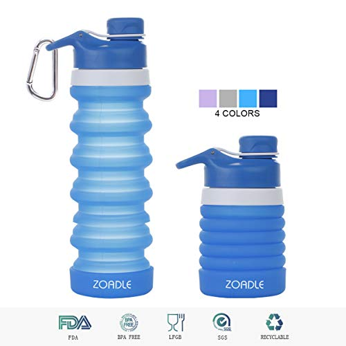 ZOADLE Collapsible Water Bottle with Carabiner - Retractable Coffee Cup Folding Travel Mug