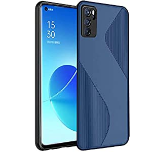 Crombie Silicone Case Cover with Camera Protection Compatible for Oppo Reno 6 Pro 5G (Blue)