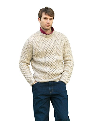 Handknit Mens Aran Sweater (Small)