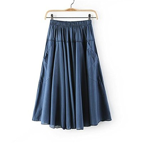 CoutureBridal Denim Blue Summer Cotton Pleated Solid Swing Womens Mid-Calf Long Skirt With Pockets (Solid Crinkle Skirt)