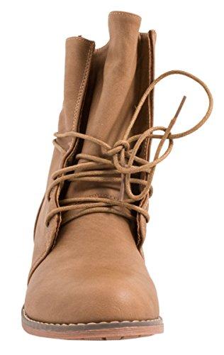 Botines Biker Boots Elara, en un aspecto de piel moderno, para mujer caqui