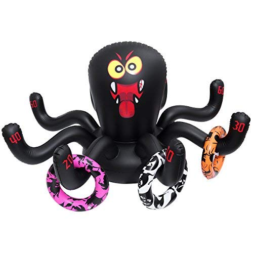 Amosfun Halloween Inflatable Ring Toss Game Halloween Party Game Outdoor Party Game Spider Toys PVC Toys with 3 rings for Kid ()