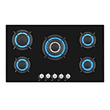 Empava 34 Inch Tempered Glass Gas Cooktop Professional 5 Italy Sabaf Burners Stove Top Certified with Thermocouple Protection Black
