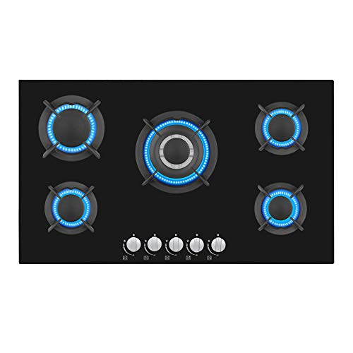 Empava EMPV-34GC5L90A Gas Stove Top Cooktop, 34 inches, Black
