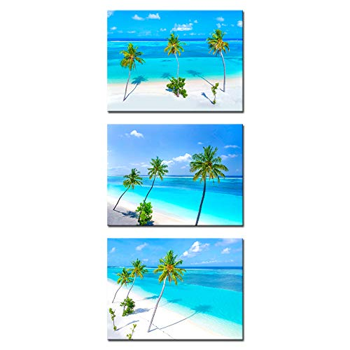 (iKNOW FOTO 3 Piece Giclee Canvas Prints Wall Art Palm Trees on The Sandy Beach and Turquoise Ocean Picture with Frame Sea Paintings for Bathroom Bedroom Home Decorations 12x16inchx3pcs)