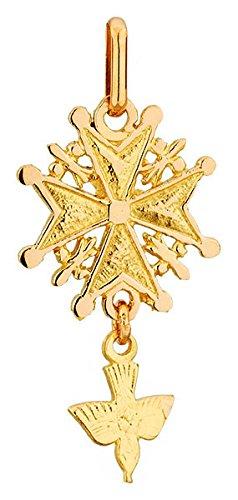 Lucas Lucor - P1778 : Pendentif Mixte Or 18K jaune - Croix Huguenote Protestante