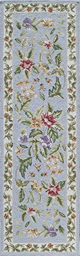 Momeni Rugs SPENCSP-16BLU2680 Spencer Collection, 100% Wool Hand Hooked Traditional Area Rug, 2'6