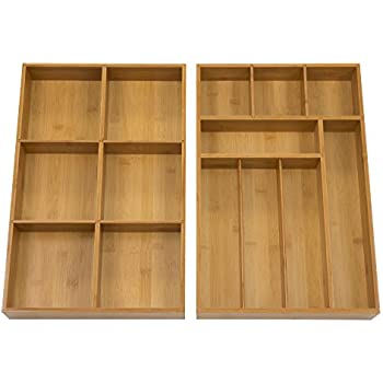 Amazon Com Seville Classics 2 Pack Bamboo Drawer