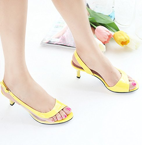 Patent Leather high Heels Heel Sandals Transparent Woman Yellow Sandals F fine with Sandal vqS60qYw