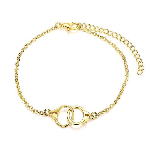 18k Knot Bracelet (Golden Heart Knot Handcuff Charm Chain Bracelet Best Gift For Women Girl Friend)