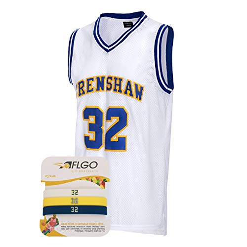 AFLGO Wright 32 Crenshaw High School Basketball Throwback Jersey Include Set Wristbands S-XXL White (White, -