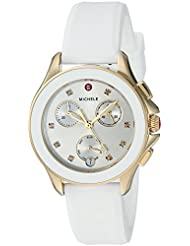 MICHELE Womens Cape Chrono Swiss Quartz Stainless Steel and Silicone Casual Watch, Color White (Model: MWW27C000012)