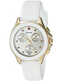 MICHELE Women's 'Cape Chrono' Swiss Quartz Stainless Steel and Silicone Casual Watch, Color:White (Model: MWW27C000012)