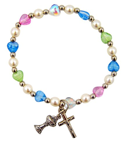 Silver Tone First Communion Chalice Charm Bracelet with Multi-Color Heart Beads, 6 Inch